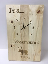 wood clock 5oclock